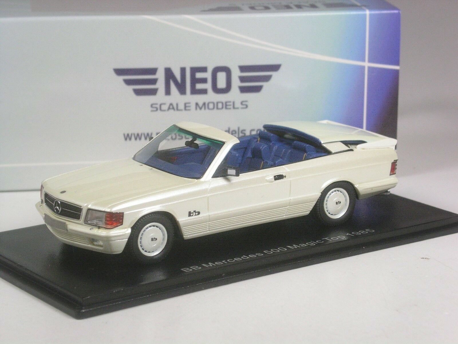 (ki-06-19) neo scale models bb mercedes 500 sec cabriolet 1985 en 1 43 en OVP