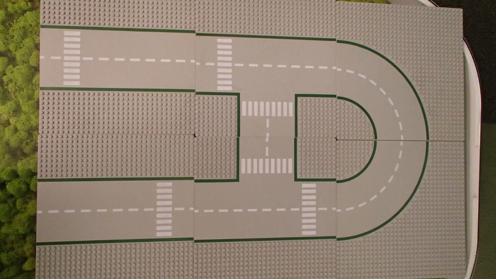 LEGO LEGOLAND 6 PIASTRE STRADE CITY città set 300 301 302 dritti curve incroci