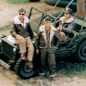 SOL-RESIN-FACTORY-MM104-SCALE-1-48-U-S-ARMY-AIR-FORCE-PILOT-WW-II-3-FIGURES