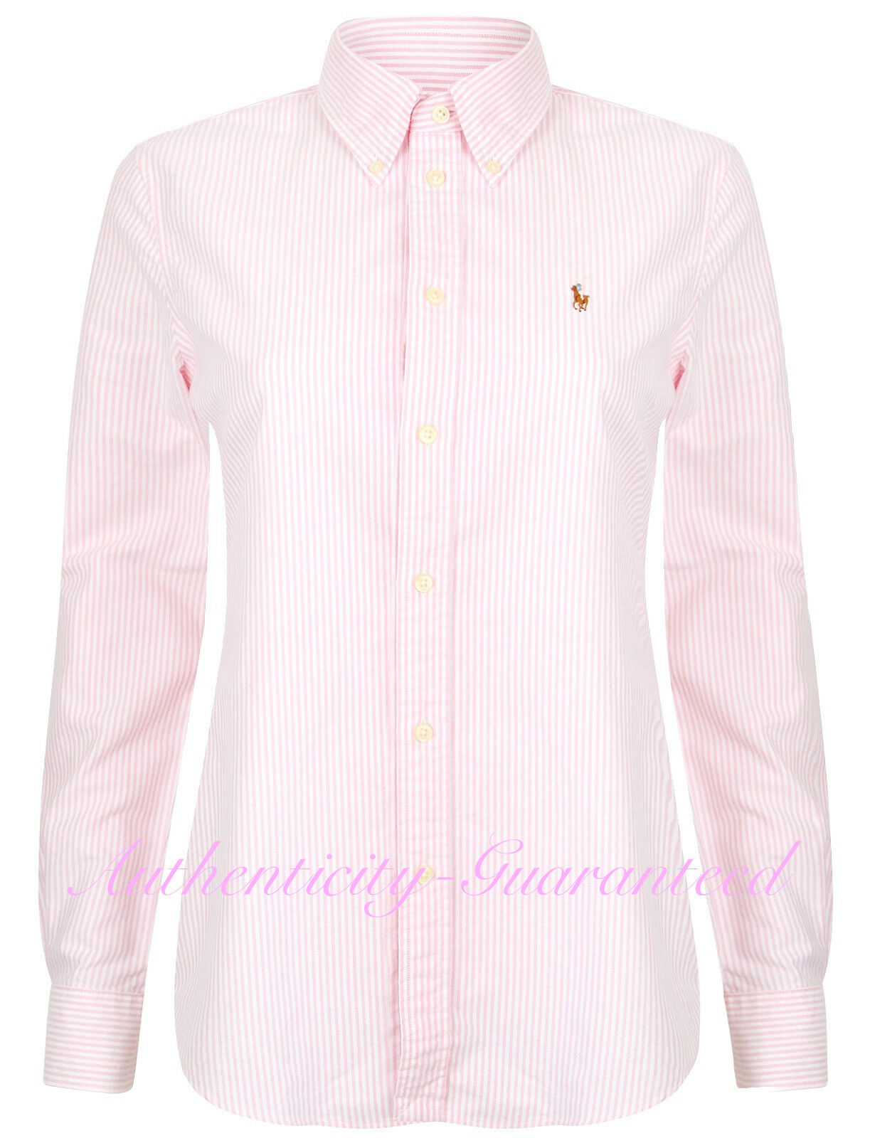 Ralph Lauren Da Donna Custom Fit Camicia Oxford A Righe rosa Blu rrp  vendita