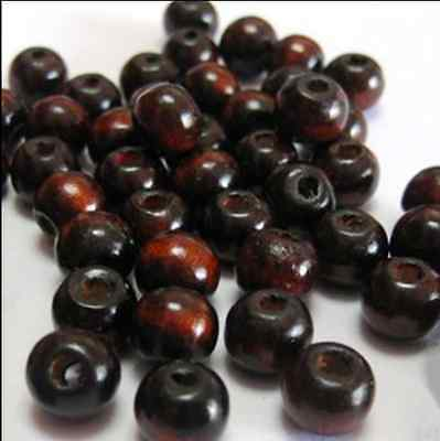 wholesale 50/100/500/1000pcs deep coffee round wood Loose beads