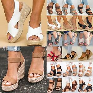 d06b339c5cc Details about Women Platform Wedge High Heels Sandals Ladies Open Toe Wide  Strap Casual Shoes