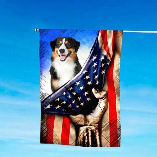 Australian Shepherd Patriotic House And Garden Flag 4th July US American Flag
