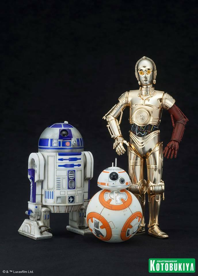 STAR WARS  R2-D2 WITH C-3PO AND BB-8 1 10 SCALE SNAP FIT FIGURES KOTOBUKIYA