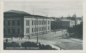 Norway-1910-exquise-Comme-neuf-postcard-Kristiania-Oslo-University-Karl-Johansgate
