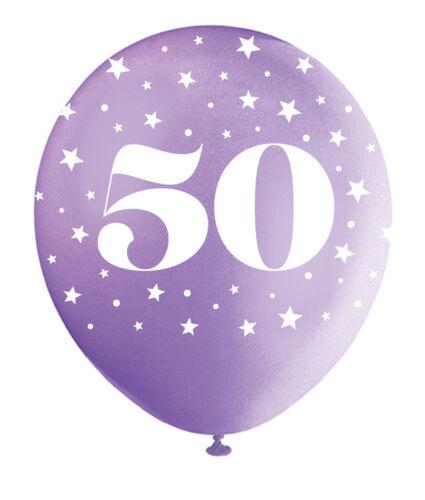 Perlado Colores Surtidos 50th Cumpleaños 50 años Globos De Látex Decoraciones 5pk