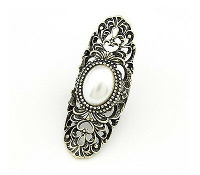 Fashion Retro Style Novel design Gothic Punk Hollow Inlay Faux Pearl Ring AU AT
