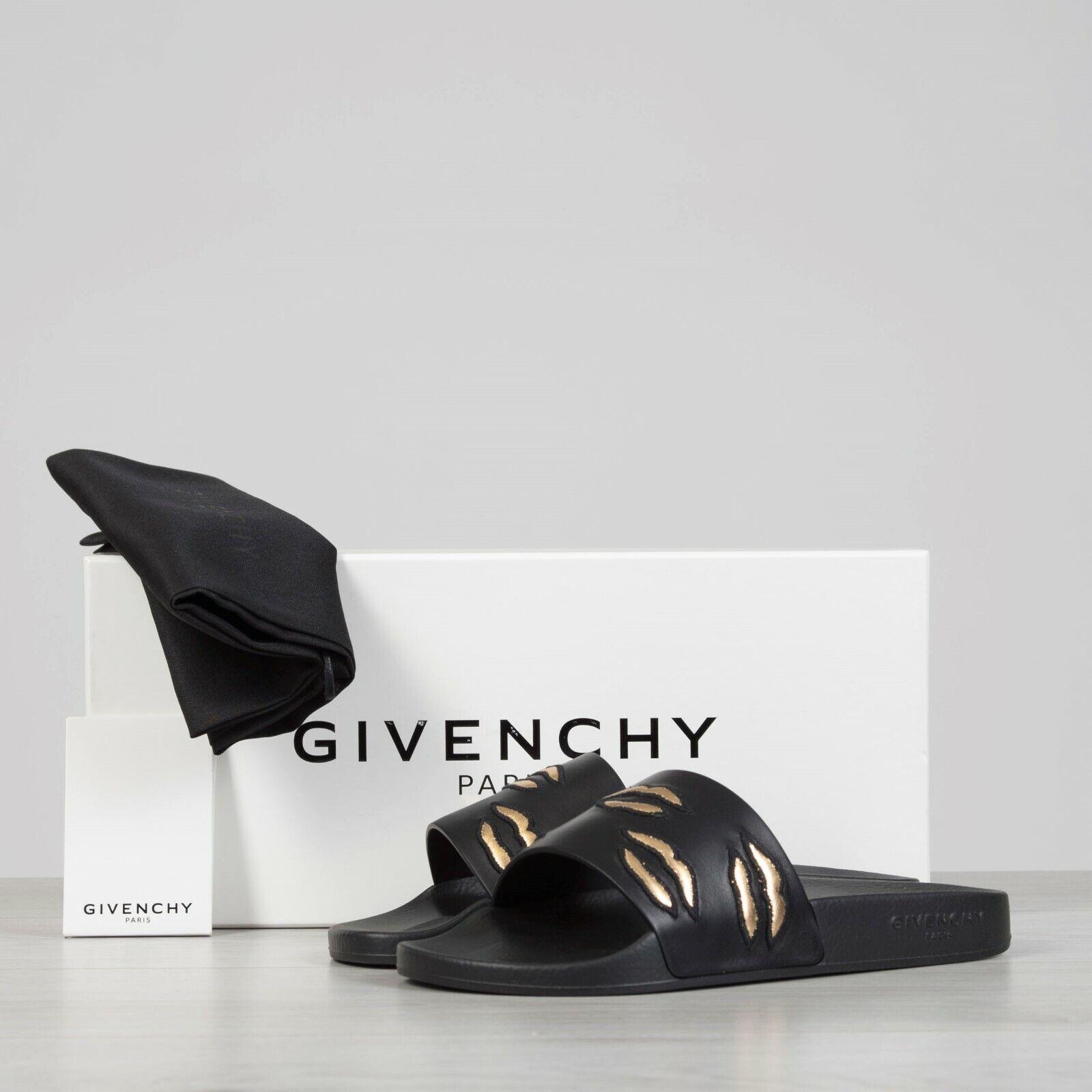 Givenchy  595 Negro de goma Sandalias de de de diapositivas con labios bordados  edición limitada