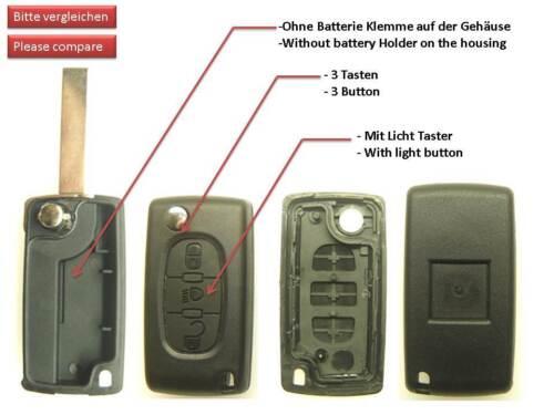 3 Tasten Citroen Schlüssel Klappschlüssel Gehäuse Berlingo C2 C3 C4 C5 C6 C8 ON