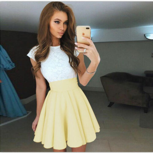 Womens Lace Party Cocktail Mini Dress Ladies Summer Short Sleeve Skater UK
