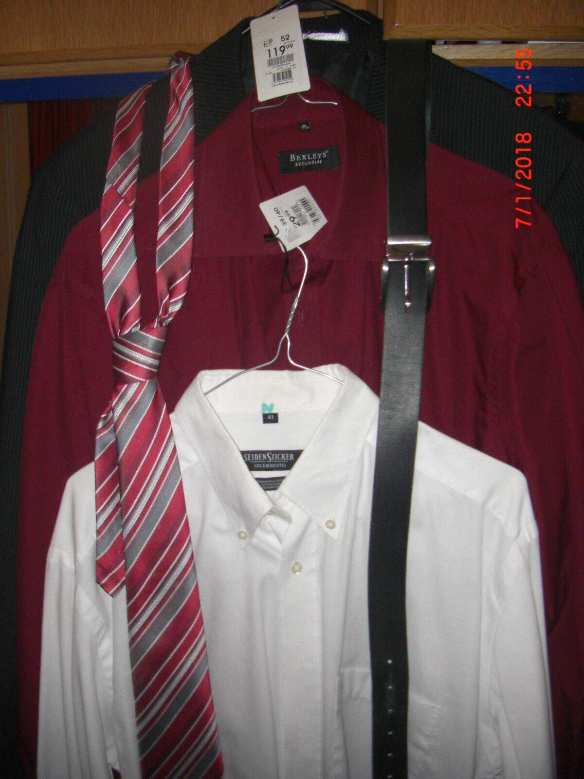 Anzug Gr. 52 plus 2 Hemden, Seiden-Krawatte und Ledergürtel-NEU