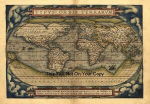 Détails Sur Ortelius Vintage Ancien Antique Couleur Color 1570 Carte Du Monde Plan Poster Photo Afficher Le Titre Dorigine