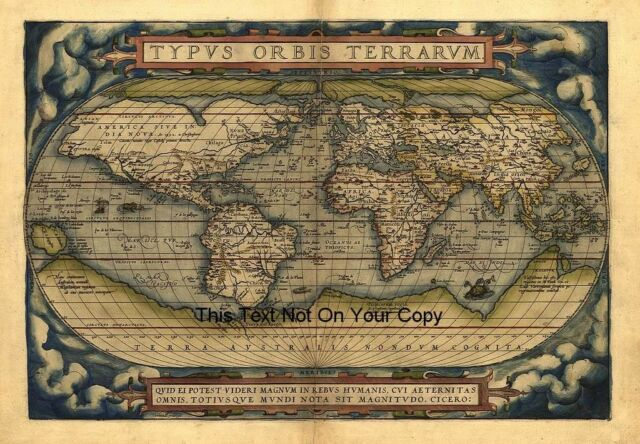 Ortelius Vintage Old Antique Colour Color 1570 World Map Plan Poster