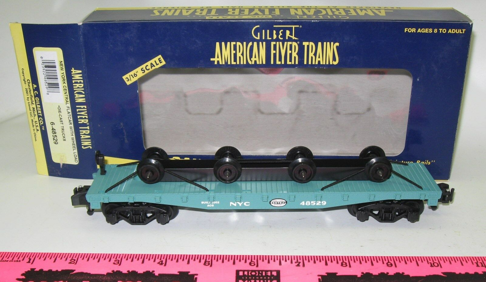 American Flyer New 6-48529 New York Central flatcar wit
