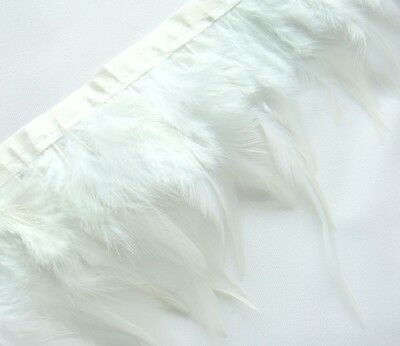 F201 PER FEET- White Rooster Hackle Hen feather fringe Trim Fascinator Material