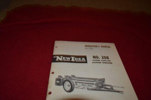 208 Manure Spreader Operator/'s Manual BVPA New Idea No