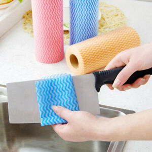 50PCS//ROLL DISPOSABLE DISHCLOTH KITCHEN WIPPING CLEANING WASHING CLOTH RAG
