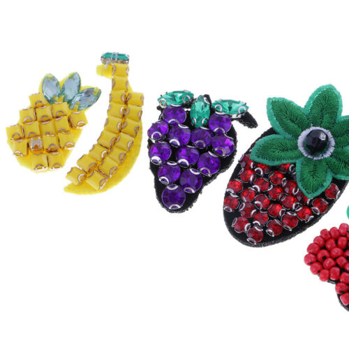 5pcs//Set Fruit Embroidered Beaded Rhinestones Patch Sew on Patches DIY Decor