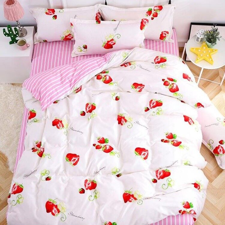 Fruit print Strawberry Bedding Set Duvet Cover+Sheet+Pillow Case Four-Piece HOT