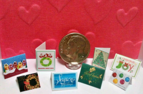 Set of 8 Dollhouse Miniature Christmas Cards Dresses up a Mantle or House