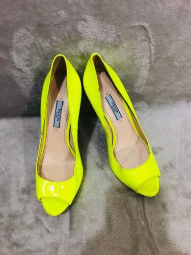 Prada Neon Lime Yellow Patent Leather peep toe Pla