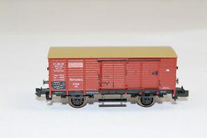 n3154-Fleischmann-gedeckter-Gueterwagen-K-W-St-E-Spur-N-mint-NEM-KKK-aus-SET