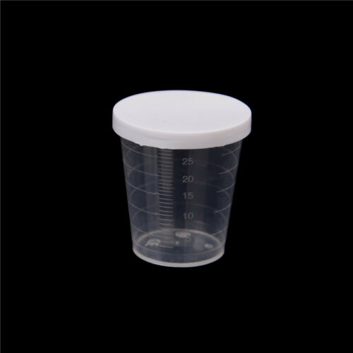 10x 30ml Kunststoff Lab Test Flüssigkeit Messbecher Tassen mit Kappe  ^