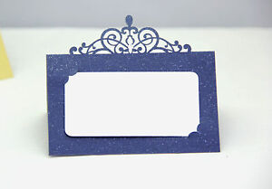 navy blue laser cut wedding party name table place cards free stand