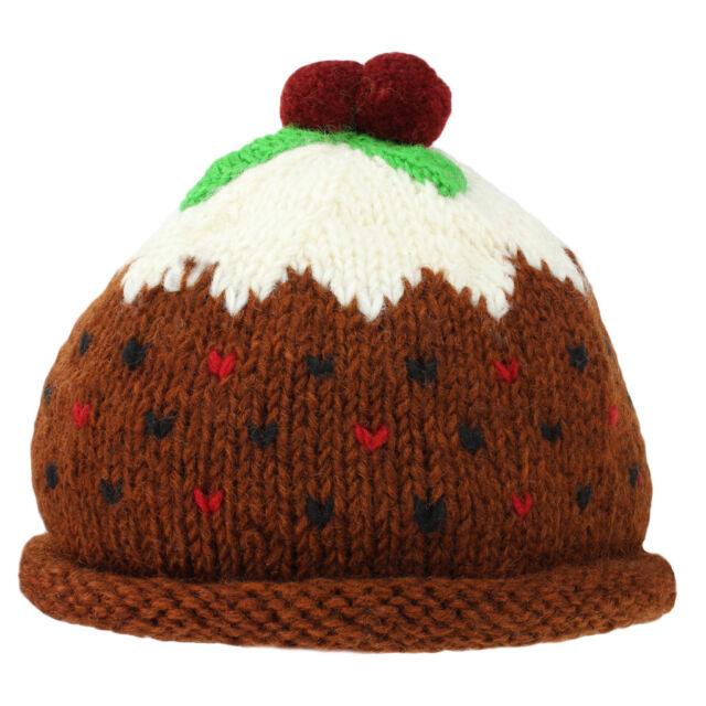be3db90872b74 Christmas Pudding Hat Xmas Pud Bobble Beanie Wool Knit Fleece Lined ...