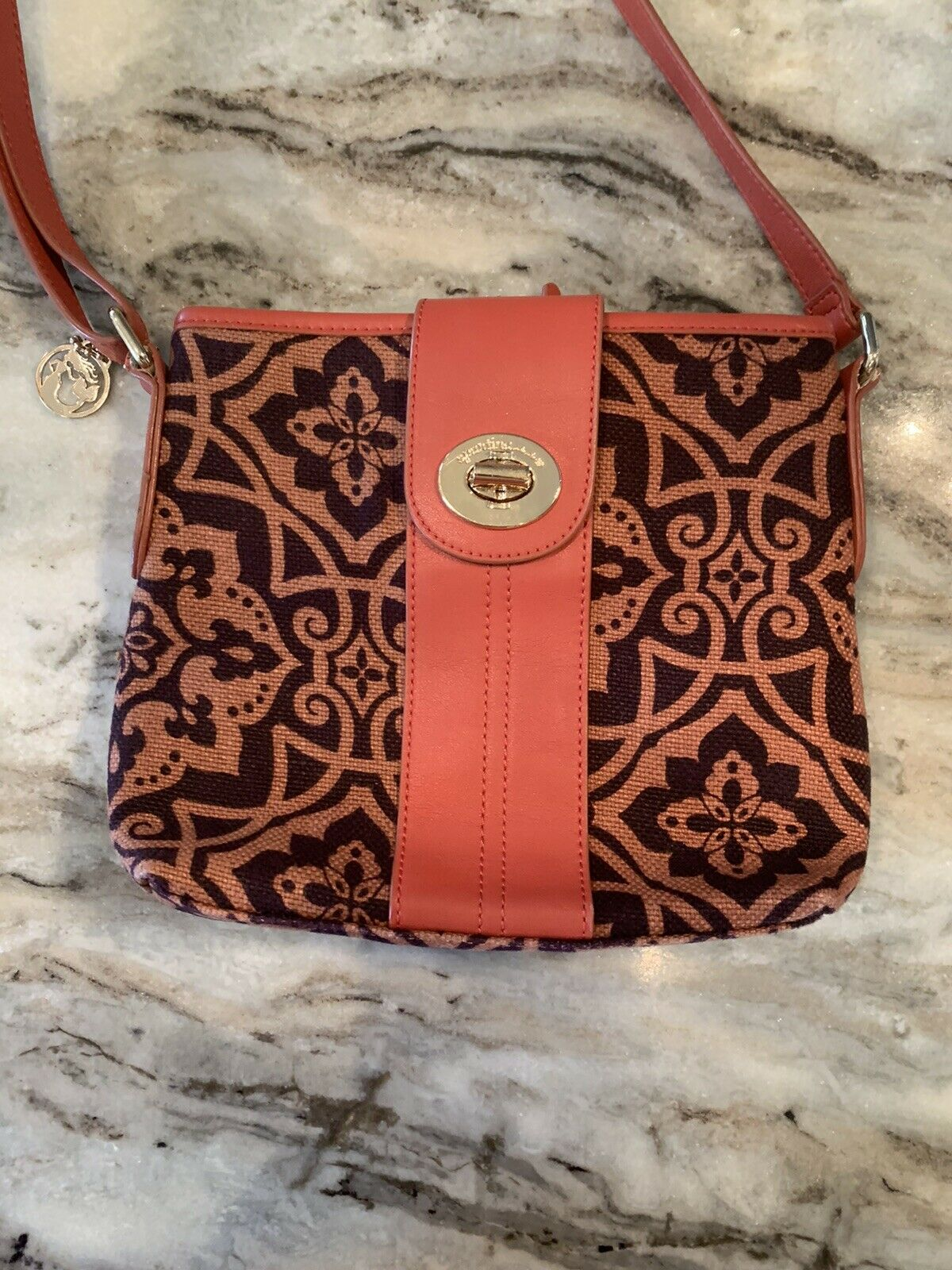 Spartina Crossbody Purse Shoulder Bag Linen Leather Damask Daufaskie Island EUC
