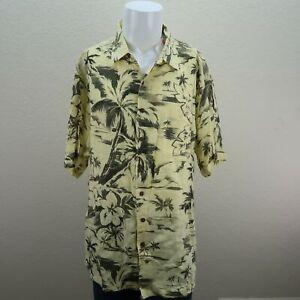 NWT-Caribbean-Yellow-Black-Tropical-Island-100-Linen-Hawaiian-Shirt-Mens-2X