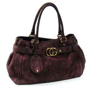 Gucci-Italy-247183-Aubergine-Suede-GG-Logo-Medium-Running-Satchel-Bag