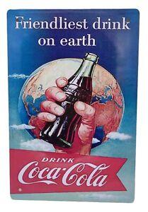 Plaque vintage publicitaire Drink Coca-Cola pancarte métal rétro NEUF