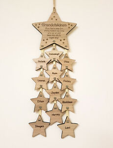 PERSONALISED-MOTHERS-DAY-GIFT-MUM-GRANDCHILDREN-NAME-STAR-PLAQUE-WOODEN-OAK