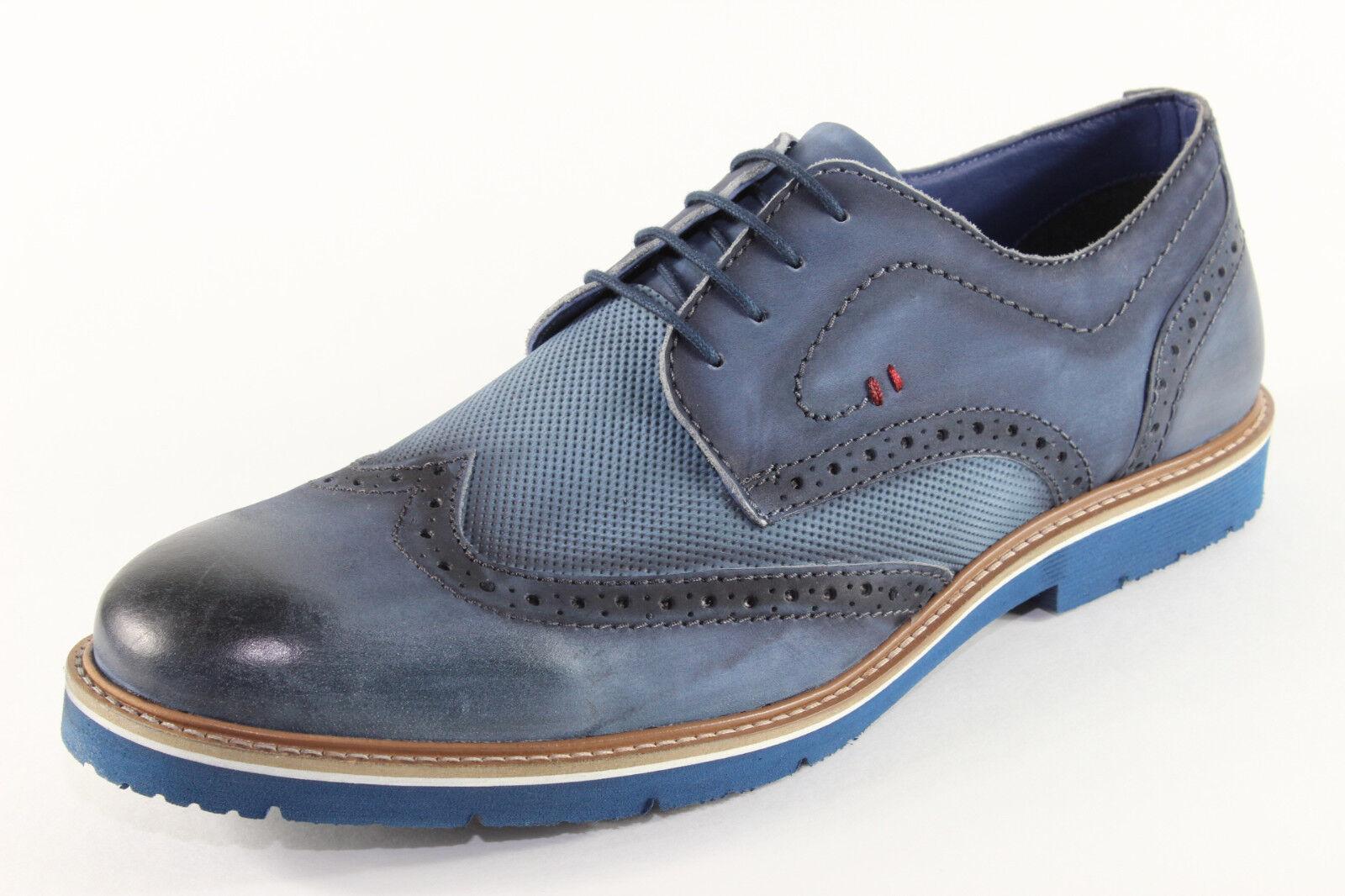 Manitu 650510, schicke Schnürschuhe aus blauem Leder, Herrenschuhe *Übergröße*