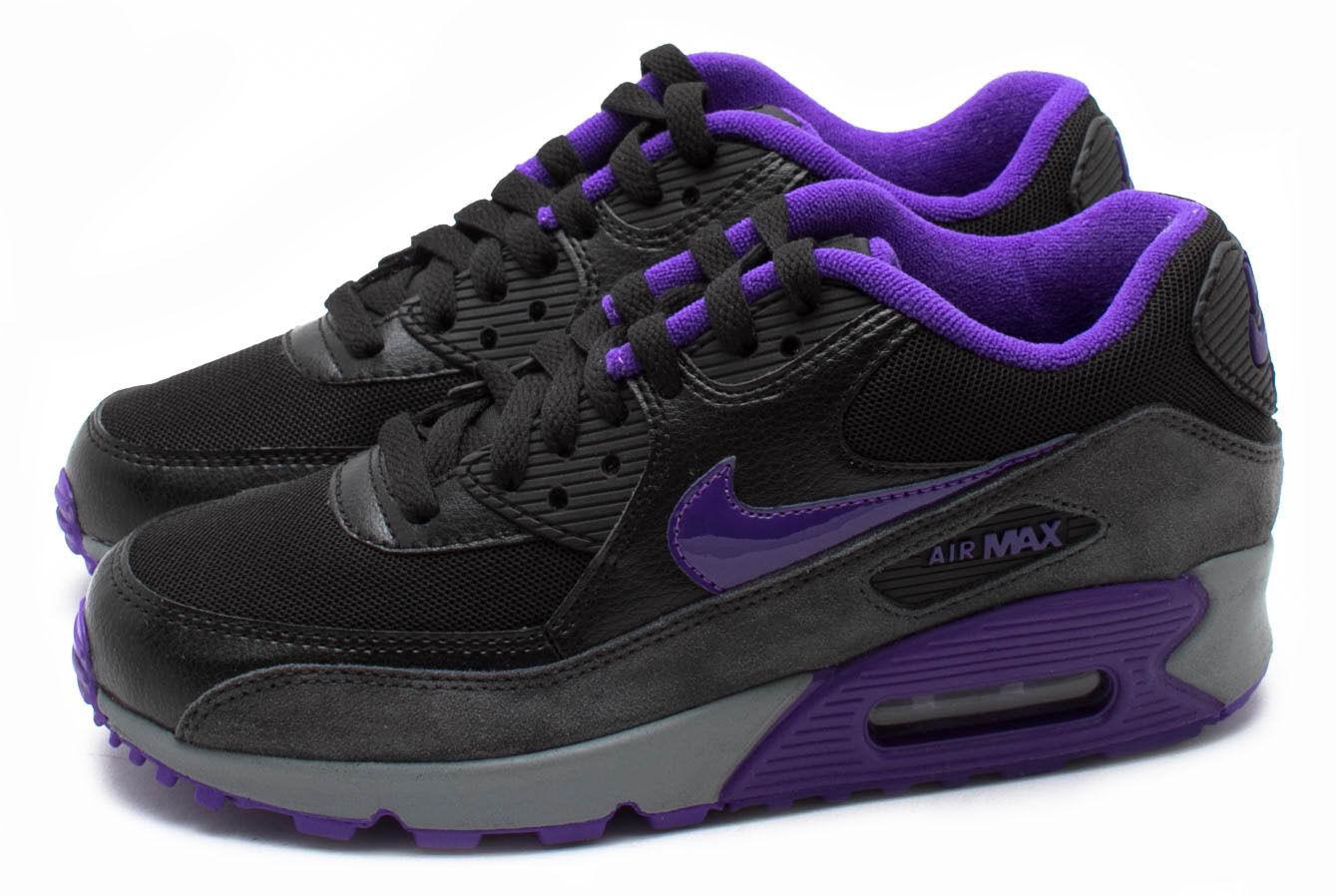 Nike WMNS Air Max 90 Black/Hyper Grape/Anthracite 616730-010 Sz 5 5.5 7 8