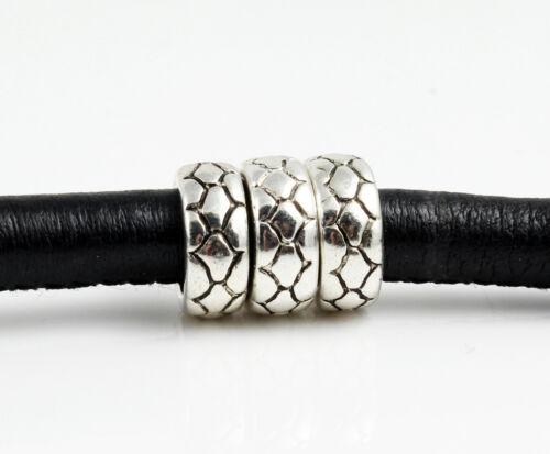 8x perla de metal-Ø 6,5 mm-Antik pulsera plata fabrican 10x4 mm