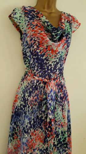 Ex M/&Co 8-20 Spot Print Cowl Neck Chiffon Skater Dress Blue White Purple Summer