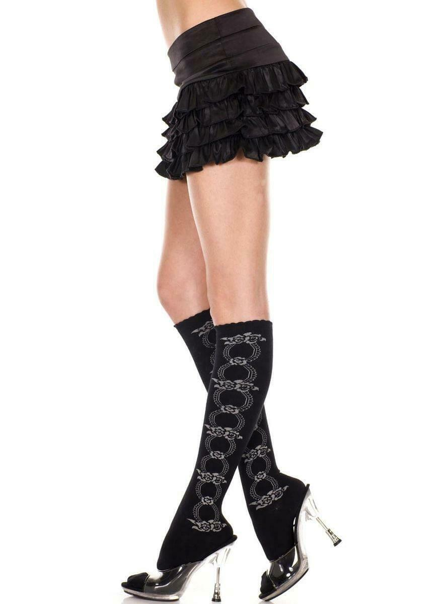 Knee Hi With Floral Design Nylon Costume Stocking One Size