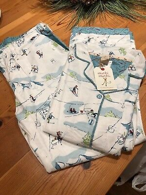 Nwt Munki Munki Pajamas Pj's Winter Skiiing Snow Scene Multi Print Sleepwear & Robes