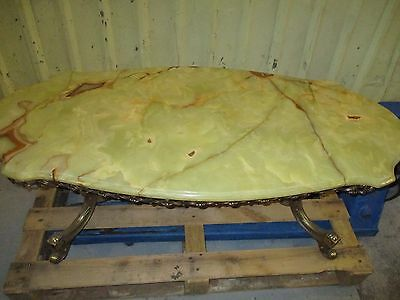 QUALITY COFFEE TABLE SOLID BRASS LEGS MARBLE ONYX TOP LOVELY COLLECT BLACKPOOL