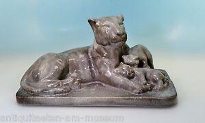 Art-Deco-Keramik-Lowin-mit-Babys-Uberlaufglasur-15324