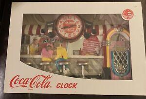 Vintage-1993-Coca-Cola-Wall-Clock-50-039-s-Diner-Ice-Cream-Bar-New-In-Box