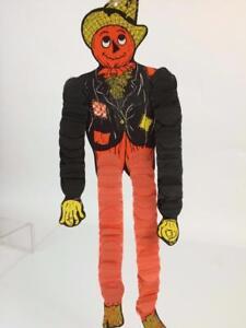 Beistle-Vintage-Halloween-Honeycomb-Scarecrow-One-Dancer-Hanging-Decoration-Exc