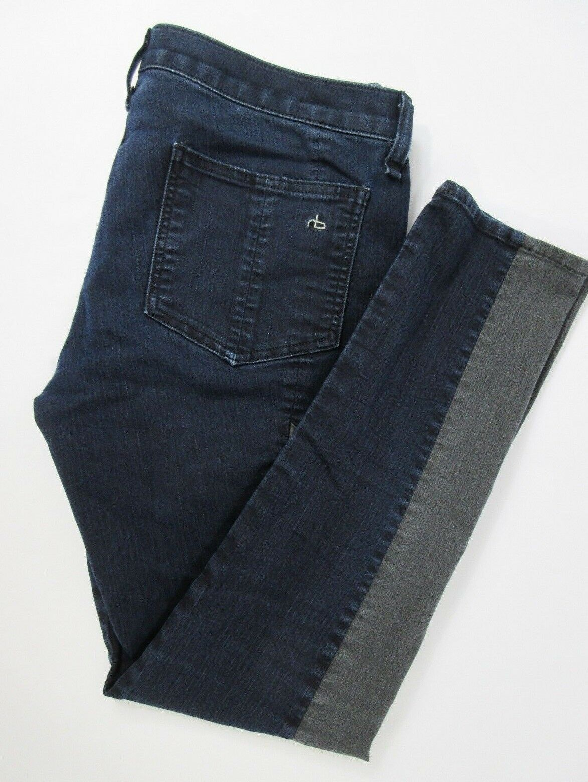 RAG & BONE The Grand Prix Midnight bluee Leather Trimmed Skinny Jeans Size 30x28
