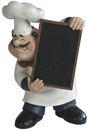 Chef figurine blackboard menu kitchen decor statue