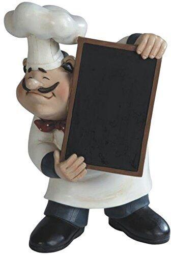 Chef figurine blackboard menu kitchen decor statue