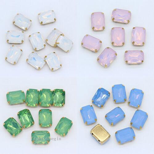 Opal Color Cristal Pedrería Joyas Dorado Coser en rectángulo garra de todos los tamaños