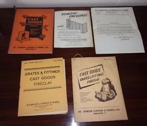 Vintage-039-50s-Cast-Goods-Grates-Fittings-Fireclay-RD-Johnson-Clapham-amp-Morris-Ltd