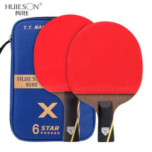 2Pcs Carbon Fiber Table Tennis Racket Double Pimples-in Rubber Ping Pong Paddle